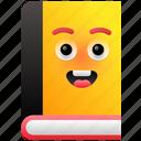 book cartoon, book emoji, book smiley, emoticon, library