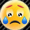 crying emoji, emoticon, sad face, unhappy, weeping