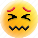 confounded face, confused, emoji, scrunched eyes, smiley icon