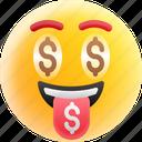 greedy, happy face, money face, money mouth emoji, rich