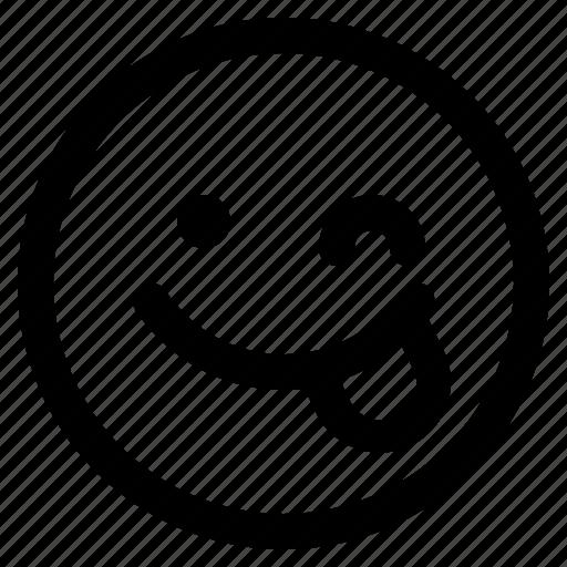 emoji, emoticon, emoticons, react, wink icon