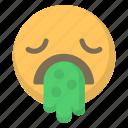 barf, barfing, emoji, face, flu, puke, sick icon