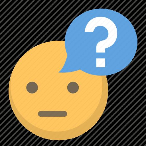 confused, emoji, face, mark, question icon