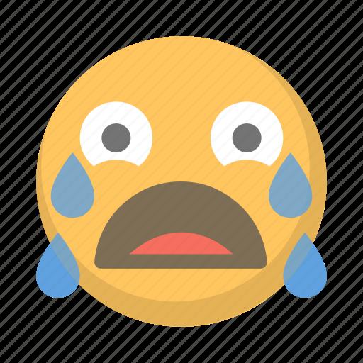balling, cry, crying, emoji, eyes, tear, wailing icon