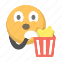 eating, emoji, emoticon, face, movie, popcorn, watch
