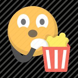 eating, emoji, emoticon, face, movie, popcorn, watch icon