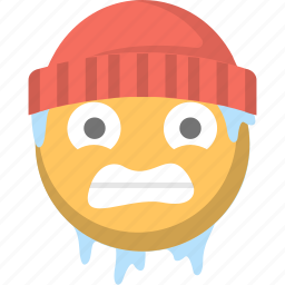 beanie, cold, emoji, freeze, freezing, shivering, winter icon