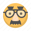 disguise, emoji, face, funny, mask, party icon
