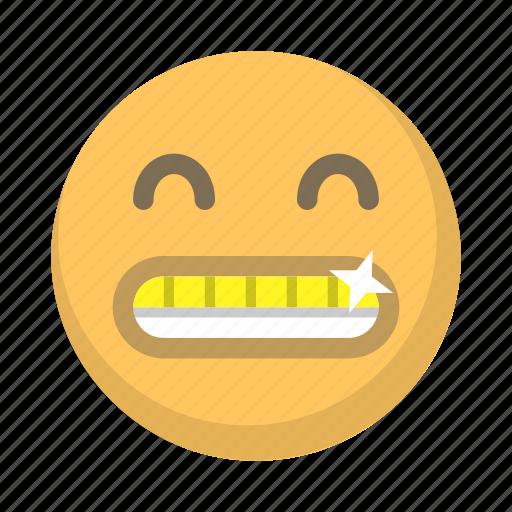 bling, emoji, face, gold, grill, rapper, teeth icon