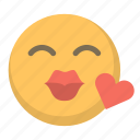 emoji, flirt, heart, kiss, love, sext icon