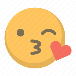 emoji, face, flirt, heart, kiss, sext, wink icon