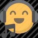 emoji, face, headphones, listen, music, sing