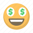 emoji, eyes, face, greed, money, rich icon