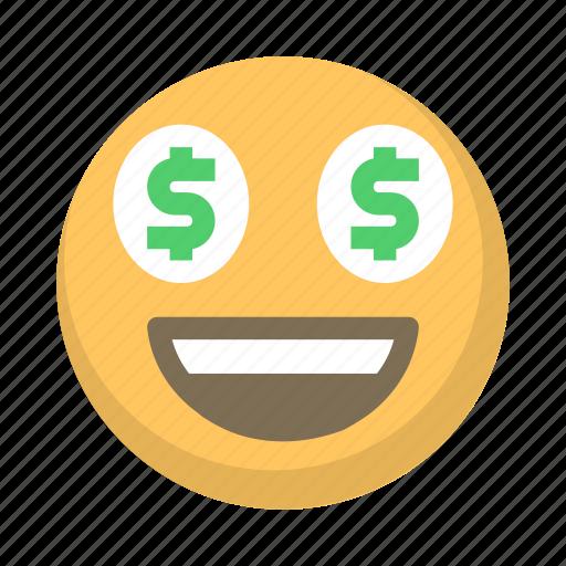 emoji, eyes, face, greed, money, rich icon