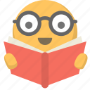 studying, face, geek, learning, reading, nerd, emoji