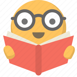 emoji, face, geek, learning, nerd, reading, studying icon