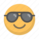 chill, cool, emoji, face, glasses, shades