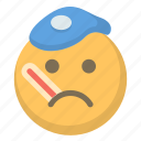 cold, emoji, face, flu, ill, sad, sick icon