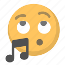 emoji, face, music, singing, song, tune, whistle