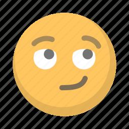 emoji, emoticon, face, smirk icon