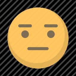 blank, emoji, emoticon, face, not ammused, stare, straight icon