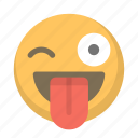 funny, crazy, face, wink, toungue, emoji icon