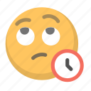 emoji, face, patience, time, waiting icon