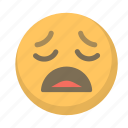 agony, depressed, emoji, face, sad, weary icon