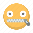 emoji, face, quiet, secret, talking, whisper, zipped icon