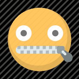 emoji, face, quiet, secret, talking, whisper, zipped icon