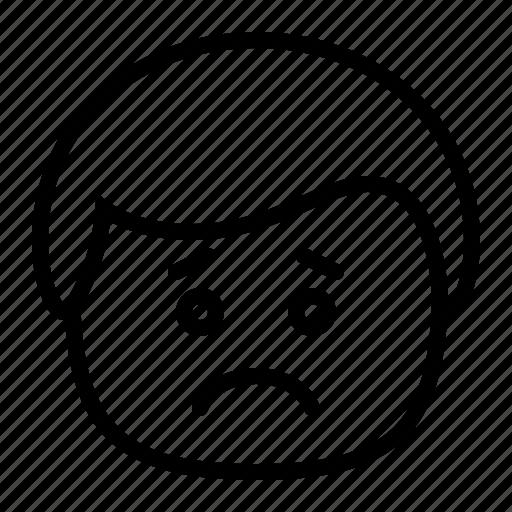 emoji, emoticon, frown, man, sad, smiley icon
