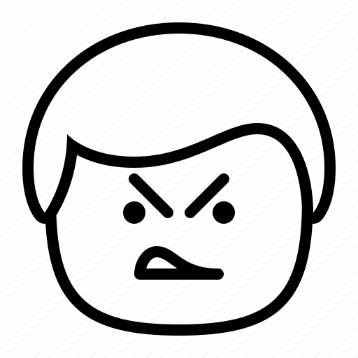 angry, emoji, emoticon, frown, mad, man, smiley icon