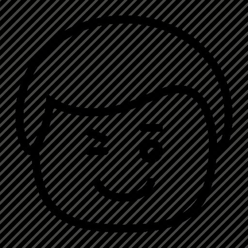 emoji, emoticon, man, smiley, wink icon