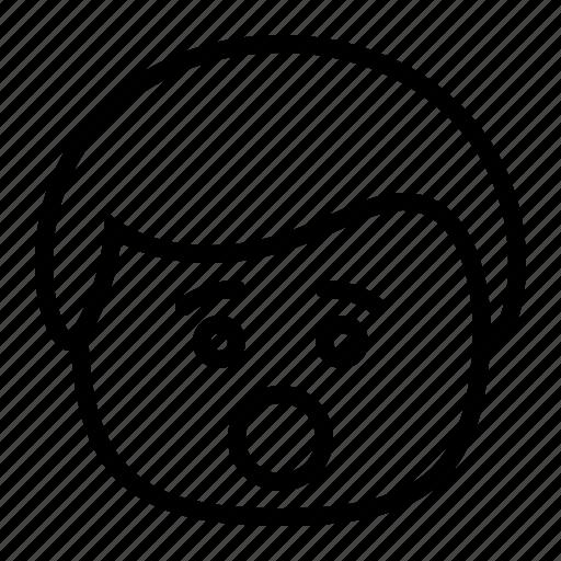 emoji, emoticon, man, smiley, surprised icon