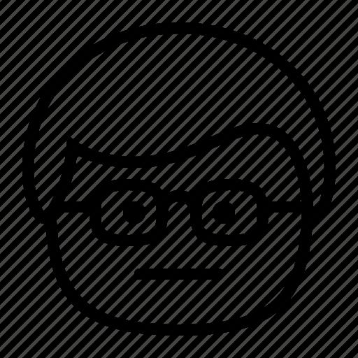 emoji, emoticon, glasses, man, nerd, smiley icon