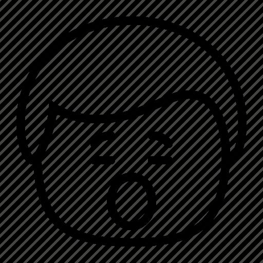 emoji, emoticon, man, smiley, tired, yawn icon