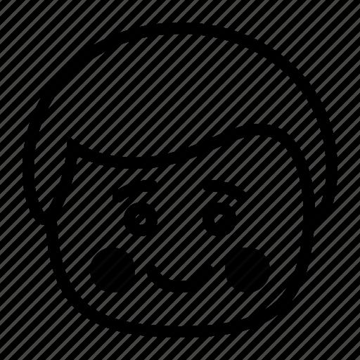 blush, embarrassed, emoji, emoticon, man, smiley icon