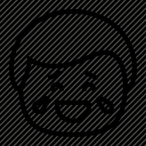 emoji, emoticon, lol, man, smiley, tears icon
