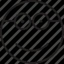 emoticon, friendly, geek, glasses, modest, nerd, smile icon