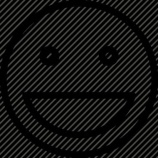 big, emoticon, expression, happy, smile icon