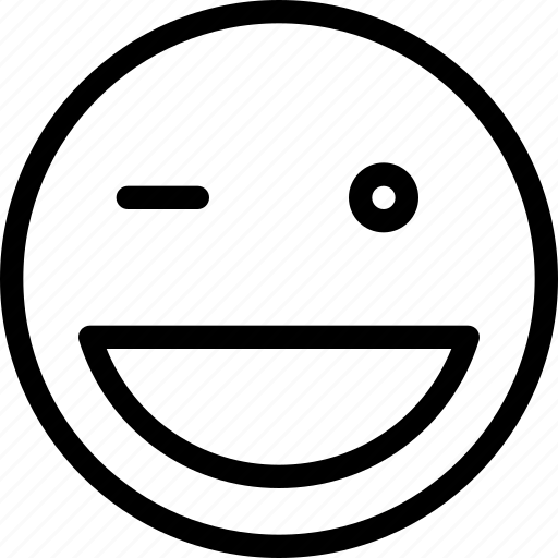 emoticon, expression, happy, smiley, wink icon