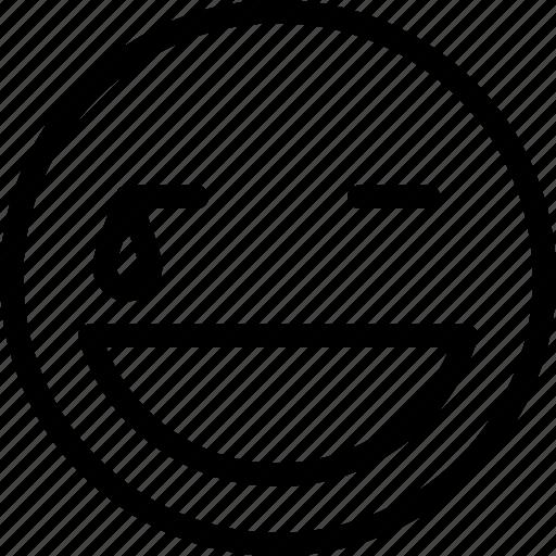 emoticons, expression, hard, laugh, smile icon