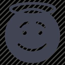 angel, emoji, emoticon, emotion, face, smile, smiley icon