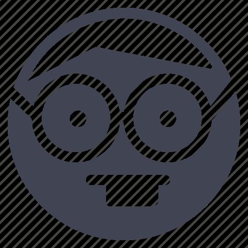 emoji, emoticon, emotion, face, geek, nerd, smiley icon
