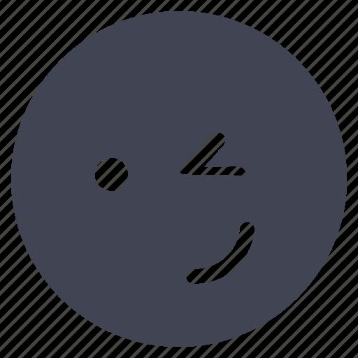 emoticon, emotion, face, smile, smiley, wink icon