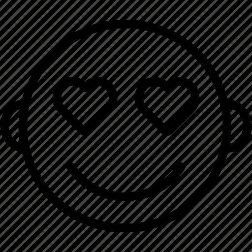 emoji, emoticon, face, heart, love, romantic, smiley icon