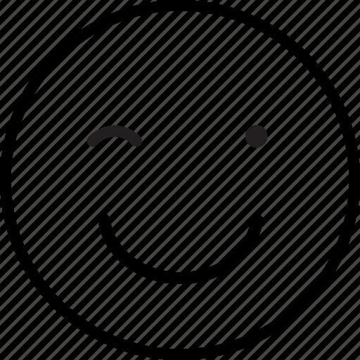 blink, emoji, emoticon, expression, wink icon