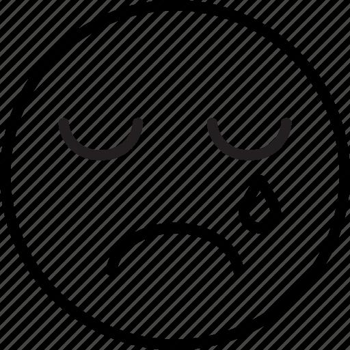 cry, emoji, emoticon, tear icon