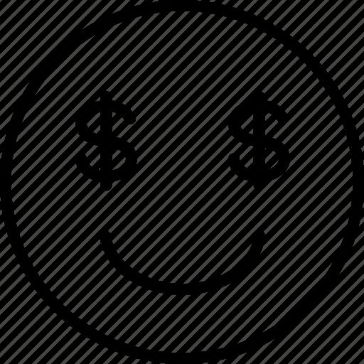 dollars, emoji, emoticon, money icon