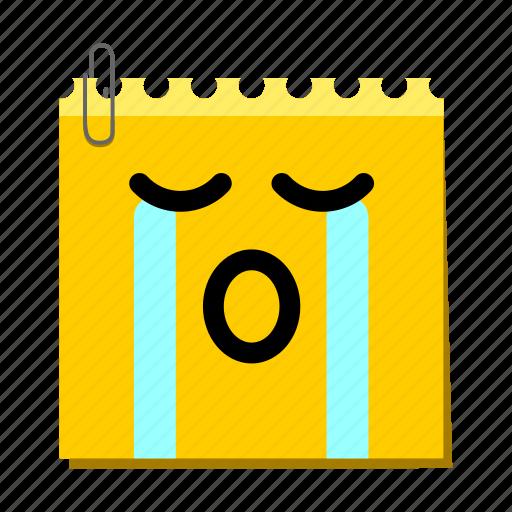 emoticon, label, sob, stickers icon